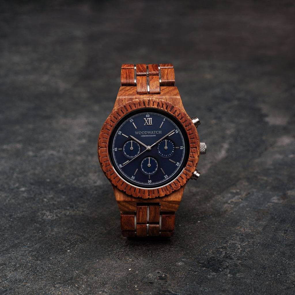 woodwatch män träklocka chronograph kollektion 45 mm diameter poseidon kosso trä