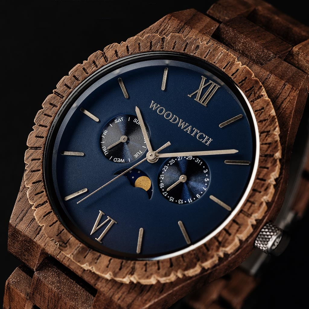 woodwatch män träklocka grand kollektion 47 mm diameter neptune valnötsträ