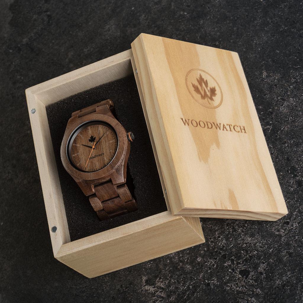 woodwatch män träklocka core kollektion 45 mm diameter walnut valnötsträ