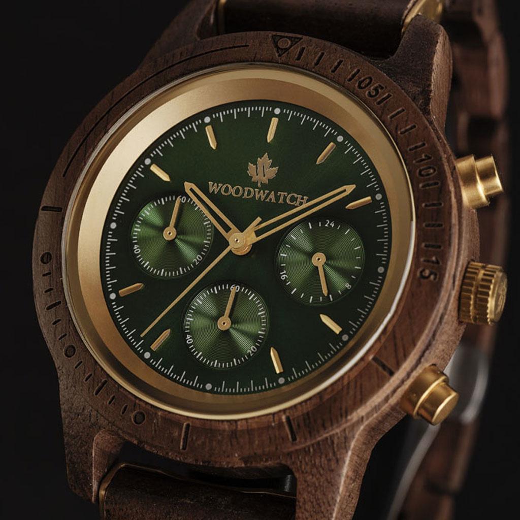 woodwatch män träklocka chronus kollektion 42 mm diameter emerald gold valnötträ