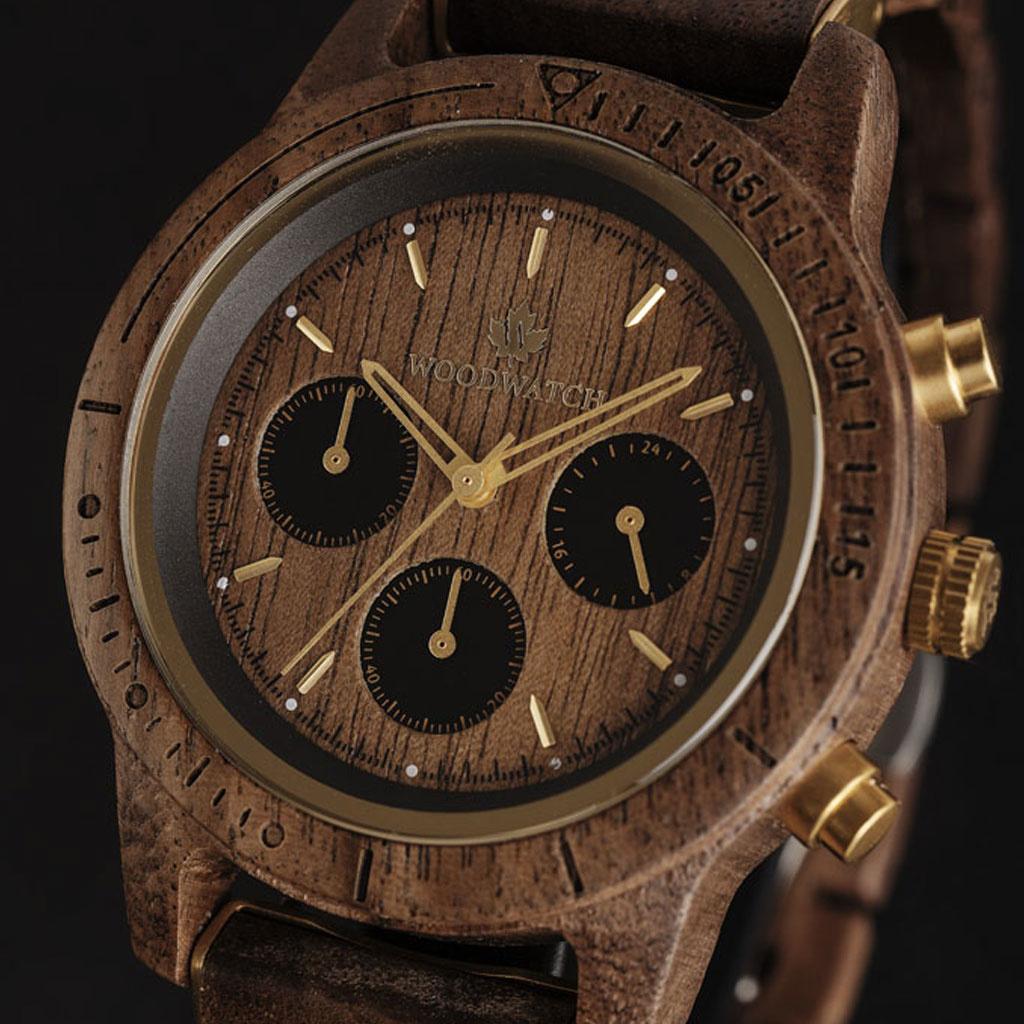 woodwatch män träklocka chronus kollektion 42 mm diameter walnut gold valnötträ