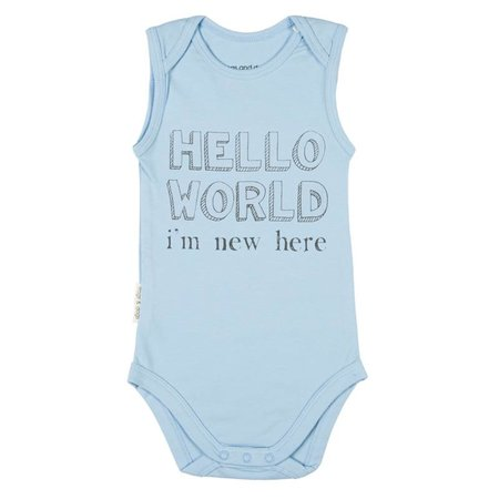 Frogs and Dogs Frogs and Dogs Romper Hello World Blauw