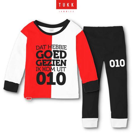 Tukk Tukk jammies Rotterdam rood/wit Pyjama