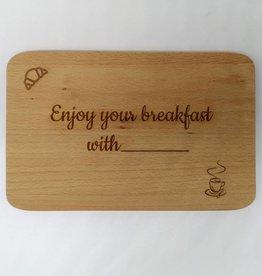 """Frühstücksbrett mit Gravur """"Breakfast"""""""