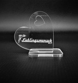 Deko Herz aus Acrylglas mit Wunsch Gravur