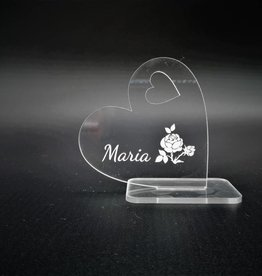 Deco heart in acrylic with engraving