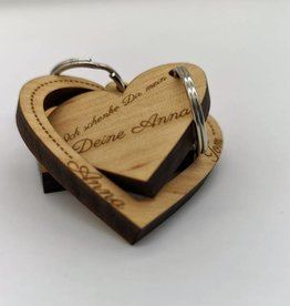 """Key ring """"Proof of love"""" made of wood"""