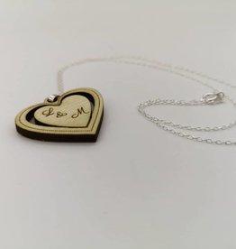 Collier coeur en bois véritable