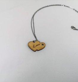 Wooden Two Hearts Necklace