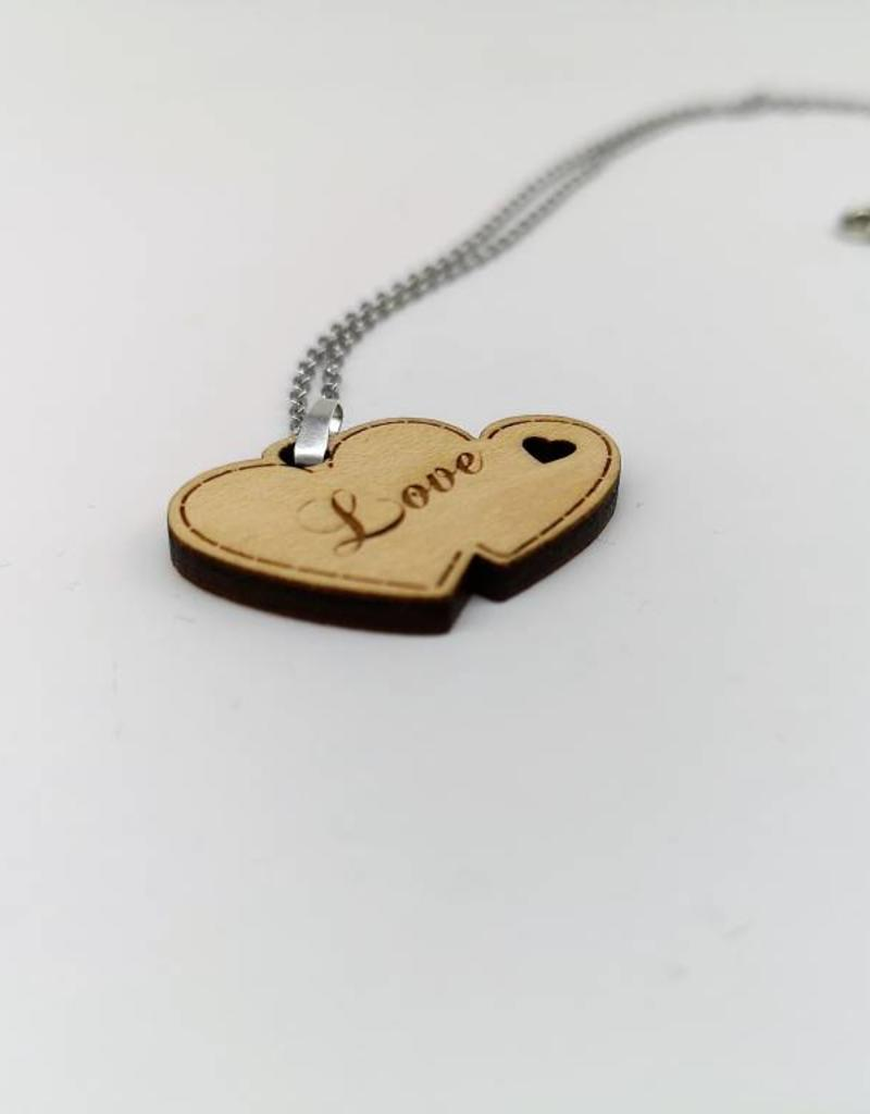 Modern Necklace Two Hearts made of wood with engraved wish