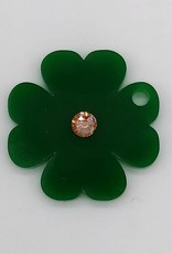 Clover pendant made of green acrylic glass with engraving mit Strassstein