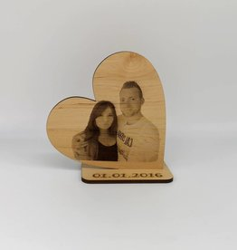 Deco heart with photo engraving