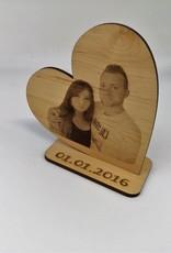 Deko Herz aus Erle Holz mit Deinem Lieblingsfoto als hochwertige Fotogravur!