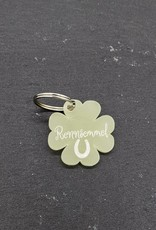 Clover pendant made of green acrylic glass with engraving
