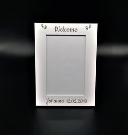 Picture frame wood white with engraving