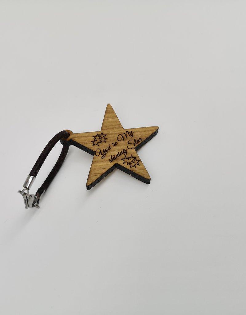 """kslaserdesign Schlüsselanhänger """"Star"""" aus Holz mit Gravur nach deinen Wünschen gestalten!"""
