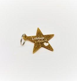 """Schlüsselanhänger """"Glitter Star"""" Gold mit Gravur"""