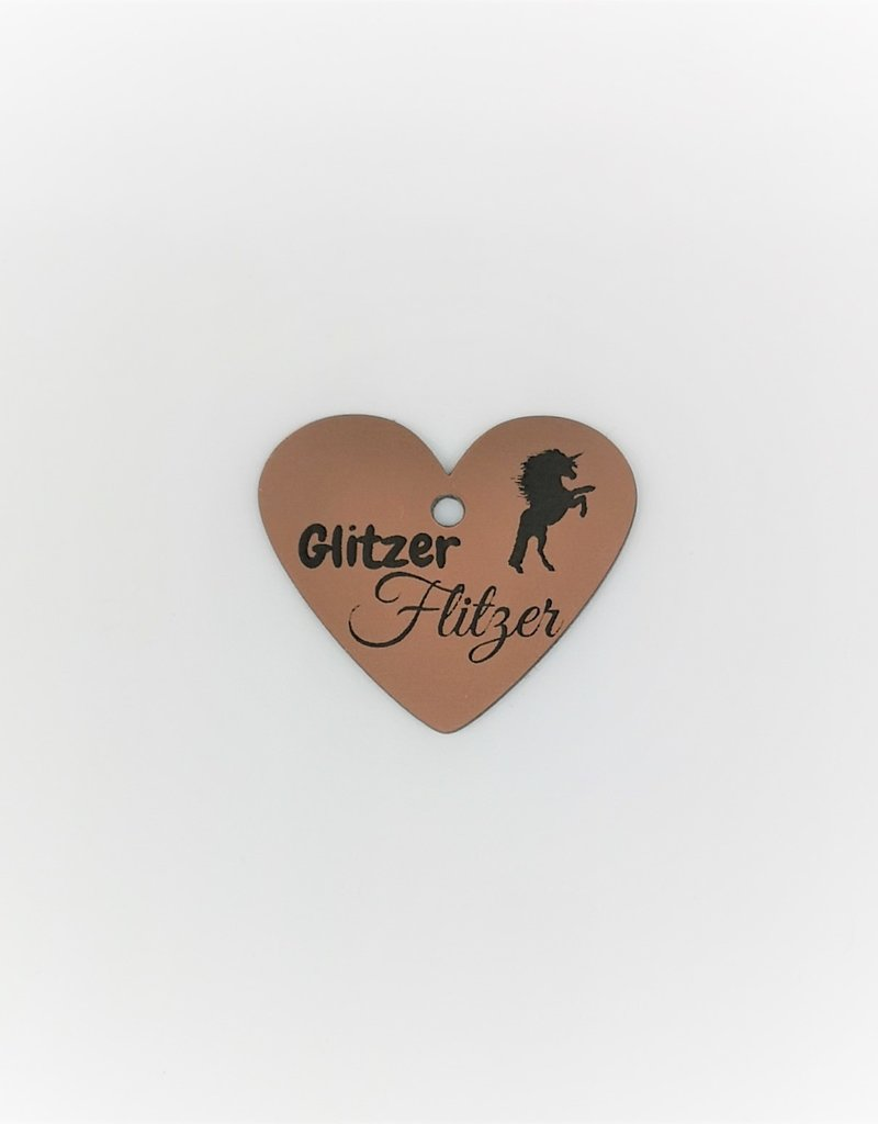 """Pferdemarke aus wetterfestem Acrylmaterial in der Farbe Kupfer Metallic mit der Gravur """"Glitzer Flitzer""""!"""