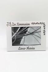 Moderner Holz Bilderrahmen mit Gravur zur Kommunion mit Auswahl des zu gravierenden Namen!