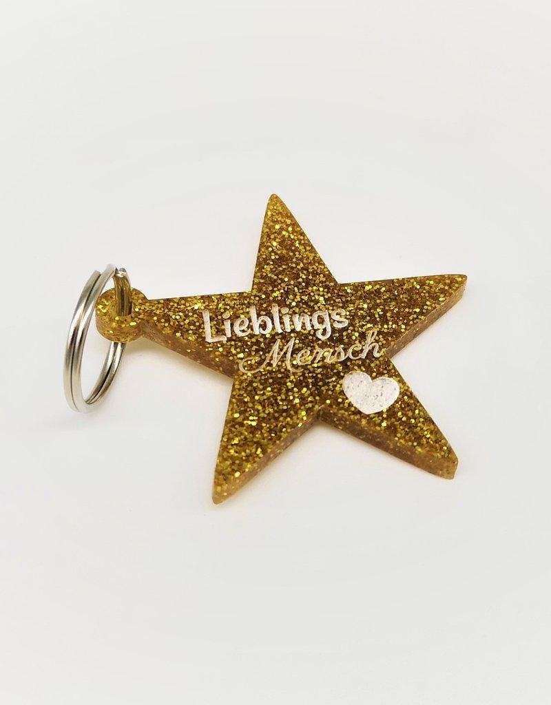 """Gestalte Dir deinen besonderen Glitzer Schlüsselanhänger """"Glitter Star"""" mit Gravur mit Grafik und Texten!"""