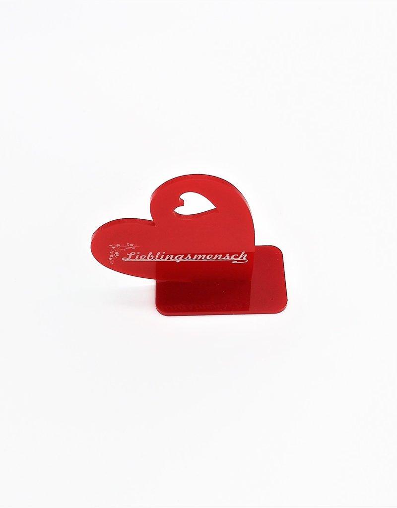 Deko Herz aus Acrylglas Rot mit Deiner Wunschgravur!