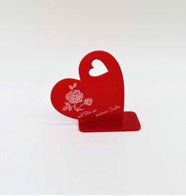 Deko Herz aus Acrylglas Rot mit Gravur