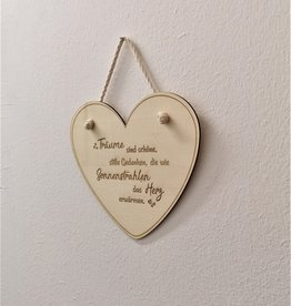 Deko Herzaufhänger aus Holz mit Wunsch Gravur
