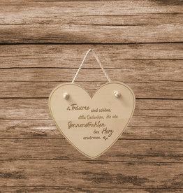 Herzaufhänger aus Holz mit Wunsch Gravur