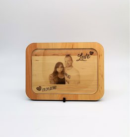 Bilderrahmen aus Holz mit Fotogravur