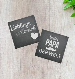 """Schieferplatte """"20x20 cm"""" mit  Wunsch Gravur"""