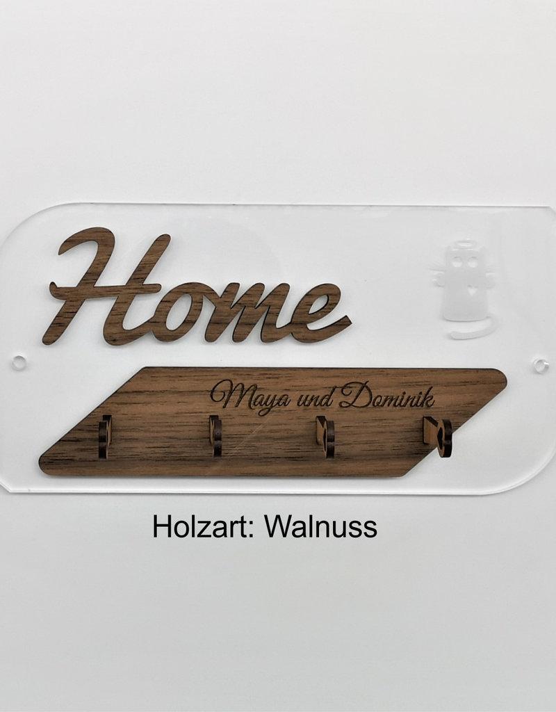 kslaserdesign Das Schlüsselbrett mit dem Wow Effekt! Aus glasklarem Acryl und deiner Wunschkombination verschiedener Holzarten und persönlicher Gravur