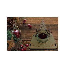 Teelichthalter mit Weihnachtsmotiven und Gravur