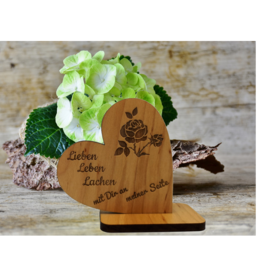 Dekoherz aus Holz mit Wunsch Gravur