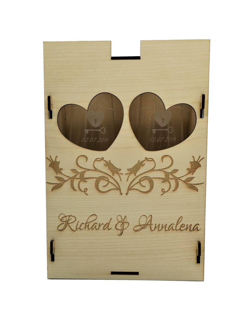 kslaserdesign Unserer Premium Geschenkbox aus Holz mit zwei Sektgläsern im Set und Deiner Wunsch Gravur!