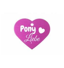 """Pferdemarke """"PonyLiebe"""" Aluminium Pink mit Gravur"""