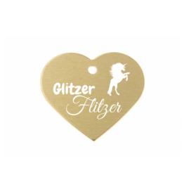 "Pferdemarke ""GlitzerFlitzer"" Aluminium Gold mit Gravur"