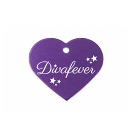 "Pferdemarke ""Divafever"" Aluminium Violett mit Gravur"