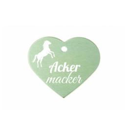 "Pferdemarke ""Ackermacker"" Aluminium Grün mit Gravur"