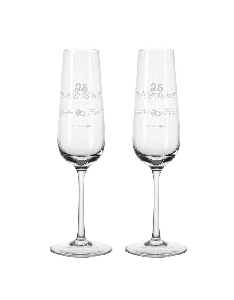 Leonardo Personalisiere dein einzigartiges Sektglas Set zur Silberhochzeit mit persönlicher Gravur!