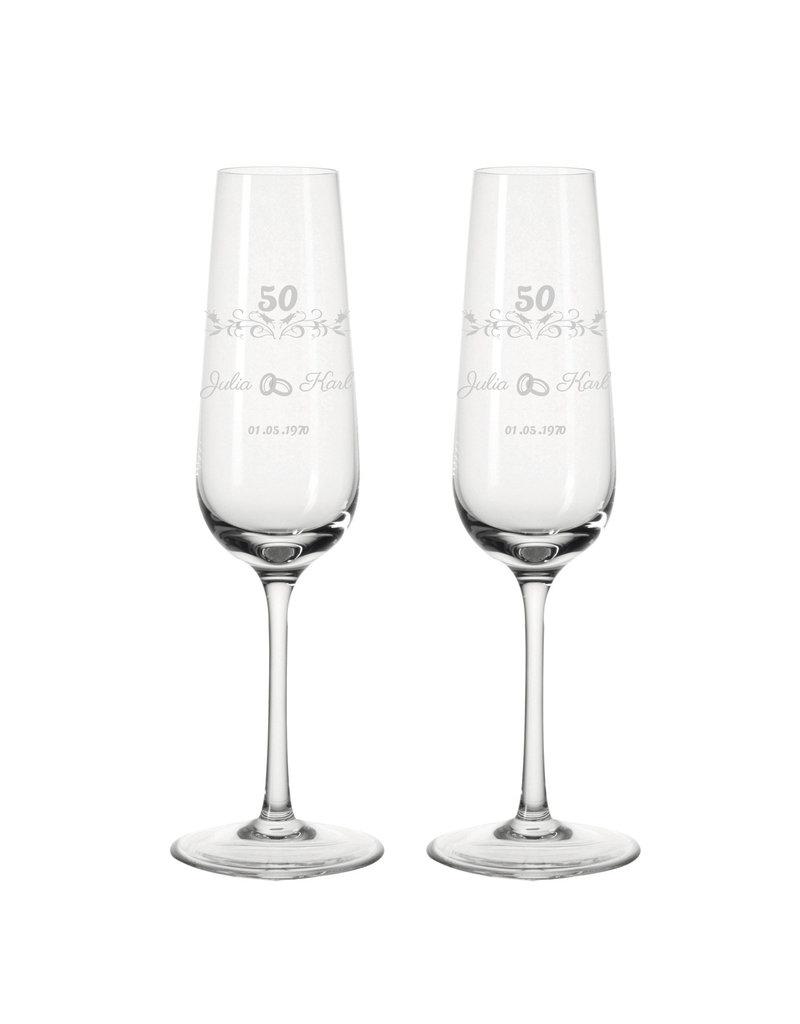 Leonardo Personalisiere dein einzigartiges Sektglas Set zur goldenen Hochzeit mit Gravur!