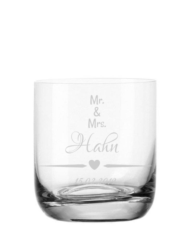 """Leonardo Eine besondere Geschenkidee mit deiner persönlichen Gravur, das Whiskeyglas """"Mr. and Mrs""""!"""