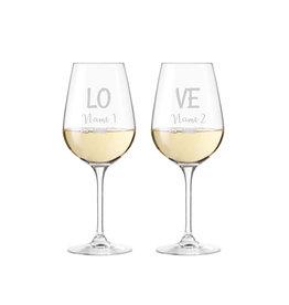 """Leonardo Weinglas Set """"Love"""" mit persönlicher Gravur"""