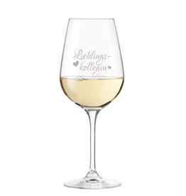 """Leonardo Weinglas """"für die beste Kollegin"""" mit Gravur"""