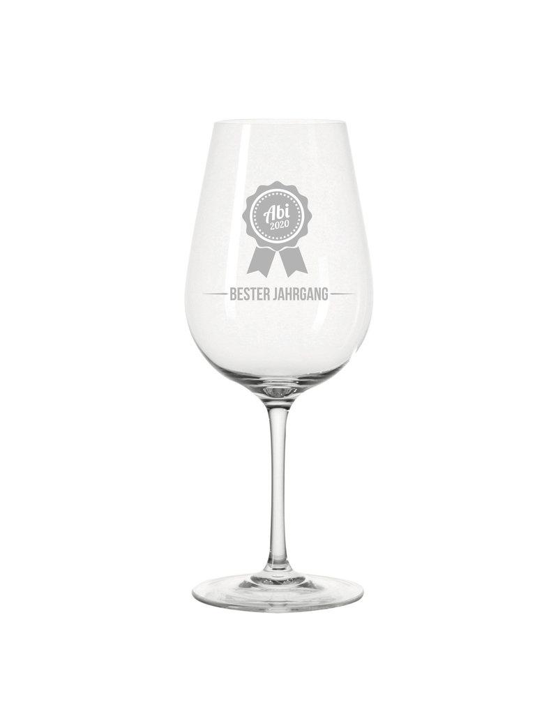 Leonardo Endlich geschafft! Das Weinglas mit Gravur Motiv zum Abi ist personalisierbar mit dem Jahrgang deiner Wahl!