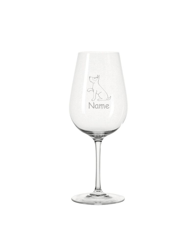 Leonardo Eine Geschenkidee für echte Tierliebhaber und Genießer, das Weinglas mit Hunde Motiv und persönlicher Gravur!
