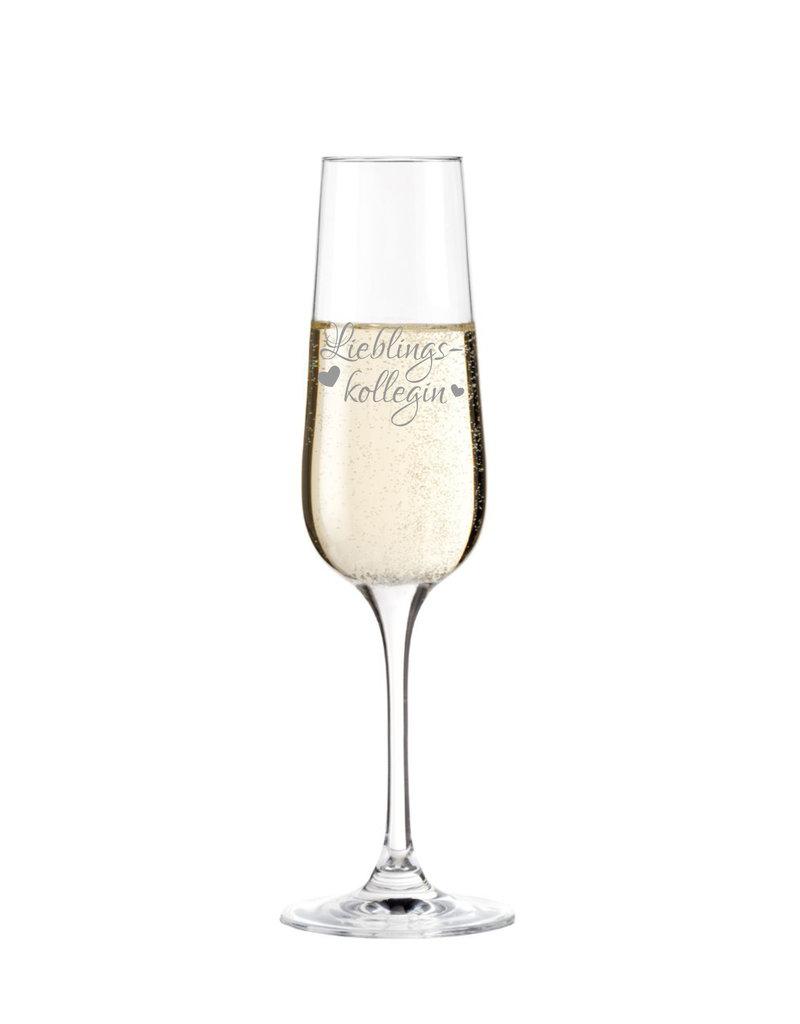 """Leonardo Danke deiner Arbeitskollegin mit dem Sektglas mit Gravur Schriftzug """"Lieblingskollegin"""" und bereite ihr eine echte Freude!"""