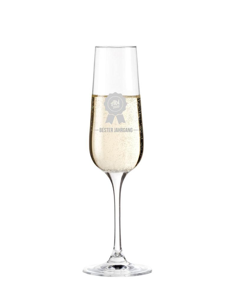 Leonardo Endlich geschafft! Personalisiere das Sektglas zum Abi mit Gravur der persönlichen Jahreszahl!
