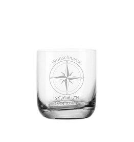 """Leonardo Whiskeyglas """"mit Kompass"""" Gravur der Koordinaten und Wunschname"""