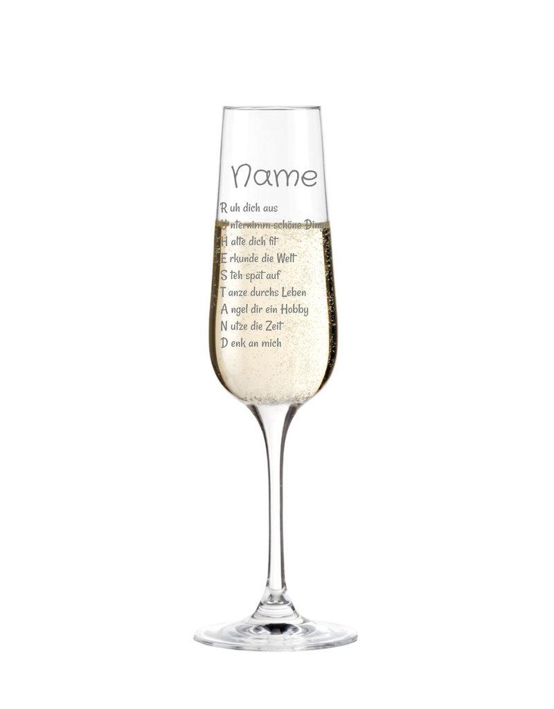 Leonardo Eine schöne Geschenkidee zum Ruhestand. Das Sektglas mit persönlicher Gravur!