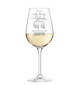 """Leonardo Weinglas mit Spruch """"viele Wege zum Glück"""" mit Gravur"""